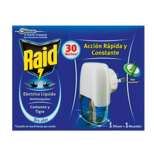 Difusor electrico + recambio insecticida RAID 30 noches