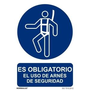 Señal Obligatorio uso arnés seguridad PVC 21X30