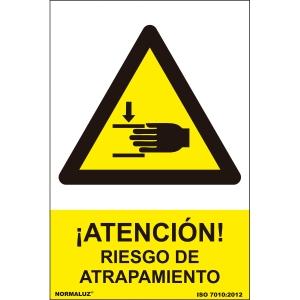 Señal Riesgo atrapamiento PVC 0,7mm 21X30