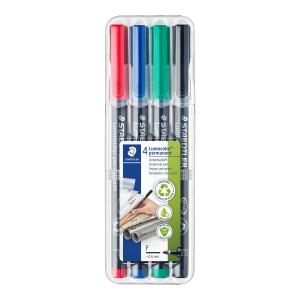 Pack de 4 rotuladores permanentes de retroproyección STAEDTLER Lumocolor.0,6 mm