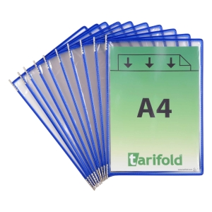Pack de 10 fundas A4 para clasificador de pared o sobremesa azul T-TECHNIC
