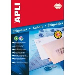 Caja de 10 etiquetas impresión inkjet APLI 10053 cantos rectos transparentes