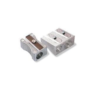 Afilalápiz de aluminio doble, color plata