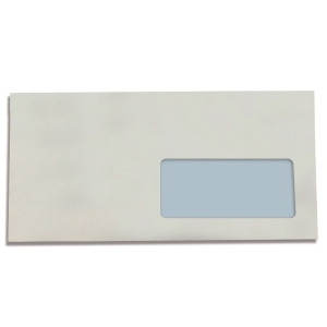 Caja 500 sobres blancos DL LYRECO papel offset ventana derecha de 110x220 mm