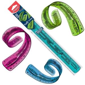 Regla milimetrada de doble medición de plástico MAPED TWIT N FLEX de 30 cm
