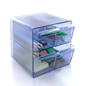 Módulo de organización  cubo con 4 cajones  azul transparente