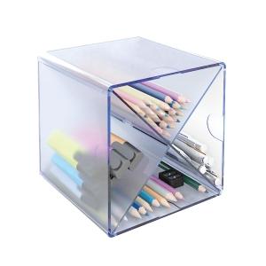 Módulo de organización  cubo con forma x azul transparente