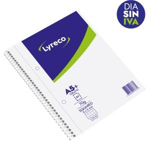 Cuaderno Lyreco 80 hojas formato A5+ microperforado cuadriculado color blanco