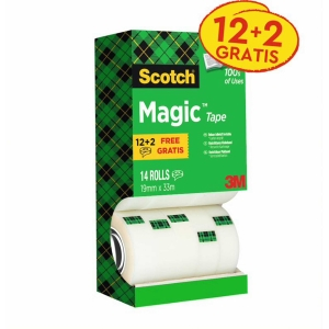 Pack de 14 cintas adhesivas Scotch magic invisible Dimensiones: 19 mm x 33 m
