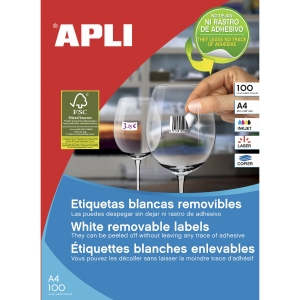 Pack de 6500 etiquetas autoadhesivas blancas APLI. Medidas: 38 x 21,2 mm