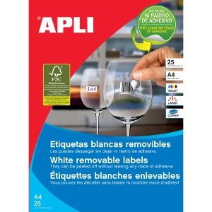 Caja de 2000 etiquetas removibles APLI 10199 cantos romos 35,6x16,9mm blancas