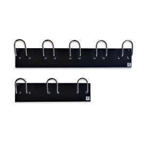 Perchero pared chapa acero negro 5 colgadores cromados dimensiones: 600x100mm