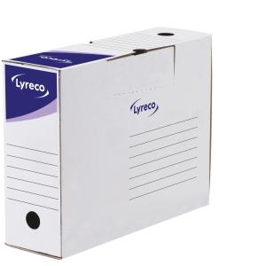 Pack de 10 cajas archivo definitivo blanco-azul formato folio prolongado LYRECO