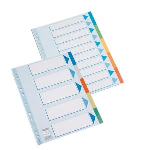 Juego de 5 separadores de polipropileno  125 micras  A4  11 taladros  ESSELTE