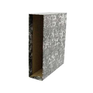 Cajetín archivador Lyreco - cuarto natural - lomo 82 mm - negro jaspeado