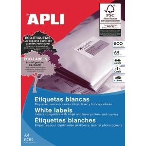 Caja de 500 etiquetas autoadhesivas APLI 1788 cantos rectos 210x297mm blancas