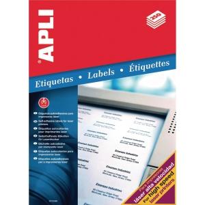 Caja de 500 etiquetas para impresión láser APLI 2529 cantos rectos blancas