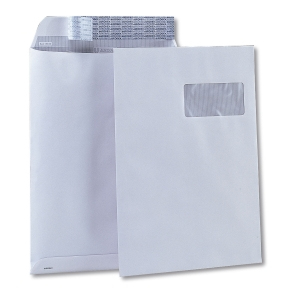 Caja de 250 bolsas DIN C4 con ventana - 229 x 324 mm - 100 g/m² - banda adhesiva