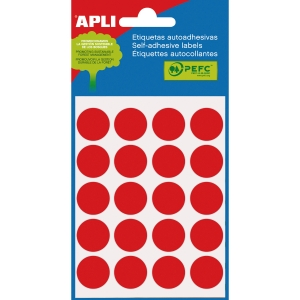 Blíster de 100 etiquetas autoadhesivas en color rojo APLI con diámetro 19 mm