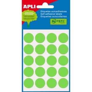 Blíster de 100 etiquetas autoadhesivas en color verde APLI con diámetro 19 mm