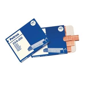 Caja de 1000 grapas para tenaza 23/6-200 cobreada PETRUS