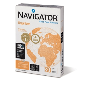 Caja 5 paquetes 500 hojas papel NAVIGATOR Organizer A4 80g/m2 2 taladros