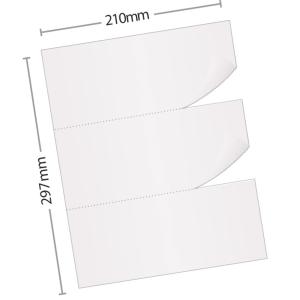 Caja de 2500 hojas de papel de recibos - 3 recibos - A4 - 80 g/m2