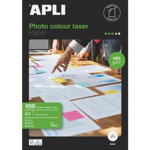 Paquete de 100 hojas papel A4 láser glossy de 160g/m2 APLI
