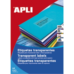 Caja de 880 etiquetas impresión láser APLI 01223 cantos rectos transparentes