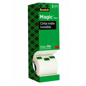 Pack 8 cintas adhesivas Scotch magic invisible Dimensiones: 19 mm x 33 m