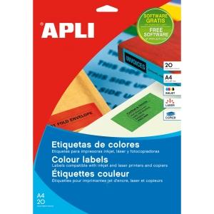 Caja de 480 etiquetas para inkjet, láser y fotocopiadora APLI 1591 amarillas
