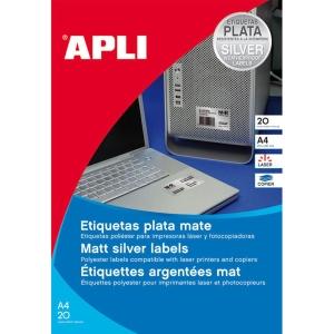 Caja de 20 etiquetas de poliéster APLI 10070 cantos romos metalizadas