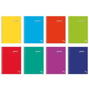 Cuaderno espiral 160 hojas A5 de 70g/m2.colores surtidos.Premium PACSA