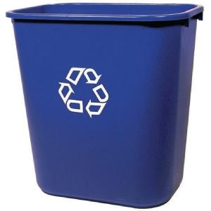 Contenedor para reciclaje RUBBERMAID de polietileno azul rectangular de 39 l