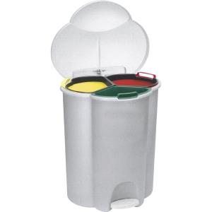 Papelera de reciclaje Rubbermaid trío con pedal - 17+17+6 L - blanco