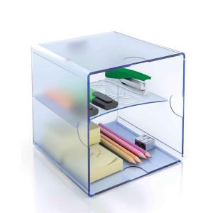 Módulo de organización  cubo con 2 divisiones  azul transparente ARCHIVO 2000