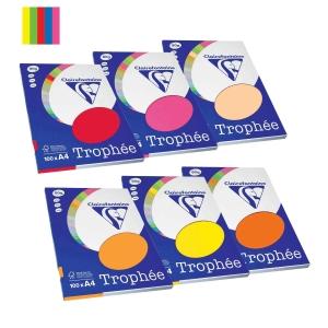Paquete de 100 hojas papel TROPHEE A4 80 g/m2 colores surtidos intenso