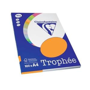 Paquete de 100 hojas papel TROPHEE A4 80 g/m2 color clementina