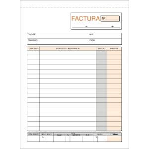 Talonario FACTURAS 100 hojas duplicado dimensiones 148x210mm