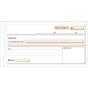 Talonario RECIBOS 100 hojas duplicado sin matriz dimensiones 208x109mm