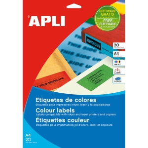Caja de 480 etiquetas para inkjet, láser y fotocopiadora APLI 1592 azules