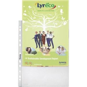 Pack de 100 fundas multitaladro LYRECO Folio 55micras rugoso