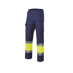 Pantalón VELILLA alta visibilidad azul marino/amarillo fluorescente M