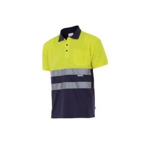 Polo alta visibilidad VELILLA manga corta amarillo fluorescente/azul XXL