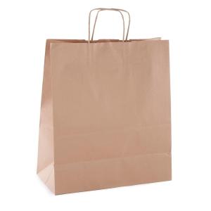 Pack de 50 bolsas de papel con asa 310x240x110 mm kraft marron