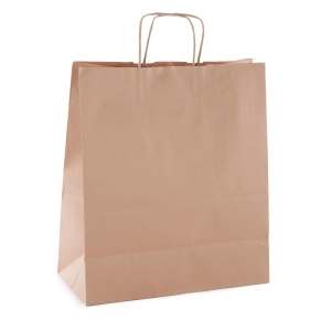 Pack de 50 bolsas de papel con asa 400X350X160 mm kraft marron