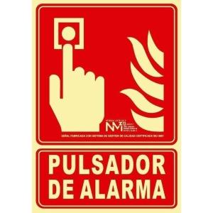Placa de PULSADOR DE ALARMA NORMALUZ de PVC fotoluminiscente 300 x 210 mm
