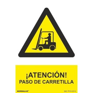 Placa de ¡ATENCIÓN! PASO DE CARRETILLA NORMALUZ de PVC 297 x 210 mm