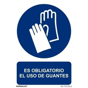 Placa de ES OBLIGATORIO EL USO DE GUANTES NORMALUZ de PVC 297 x 210 mm