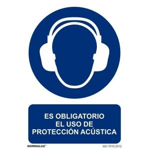 Placa de ES OBLIGATORIO EL USO DE PROTECCIÓN ACÚSTICA de PVC 297 x 210 mm